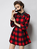 Women's Going out Vintage A Line DressCheck Shirt Collar Mini  Sleeve Red Cotton Fall Mid Rise Inelastic Medium