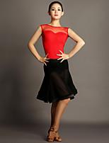 Latin Dance Outfits Women's Performance Chinlon / Tulle Draped 2 Pieces Black Latin Dance Sleeveless