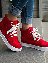 Fall Comfort Canvas Outdoor Flat Heel Others Black / Red Walking