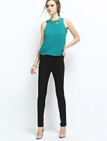 NAKED ZEBRA Women's Mid Rise Slim Black / Red / Brown / Green / Khaki / Royal Blue Casual Pants-AP2653