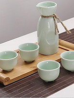 Celadon Ceramics Japanese-Style Wine Set For White Wine Gift Set (Include 1 Flagon 4 Cups)