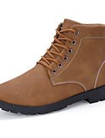 Men's Boots Fashion Leather Medium cut Flats Board Shoes Combat Boots
