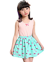 Girl's Casual/Daily Patchwork DressCotton Summer Blue / Green / Pink / White / Yellow