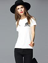 FRMZ  Women's Going out Simple Summer T-shirtPrint Round Neck Short Sleeve White Cotton Medium