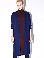 חדש לפני / המזדמנים של נשים יומיומיות פשוט צוואר נ coatembroidered שרוול ארוך באביב / לנפול כחול / אפור