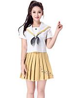 Costumes Plus de costumes Halloween Blanc / Jaune Couleur Pleine Térylène Haut / Jupe / Plus d'accessoires