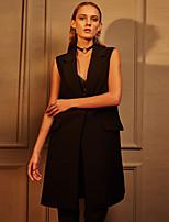 C+IMPRESS  Women's Work Simple Summer BlazerSolid Peaked Lapel Sleeveless Black Polyester Opaque