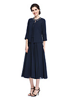 A-line Mother of the Bride Dress - Elegant Tea-length 3/4 Length Sleeve Chiffon with Beading