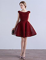 Cocktail Party Dress A-line Scoop Short / Mini Tulle with Appliques