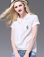 AJIDUO® Женский Рубашечный воротник Короткие Рубашка и Блузка Кот / Оранжевый-A9532