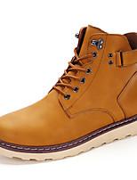 Черный / Коричневый / Желтый-Мужской-Для прогулок-Полиуретан-На плоской подошве-Обувь в рабочем / военном стиле-Ботинки