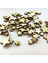 100PCS Mini Mixed Wooden Stars Embellishments for Craft Party Table Confetti