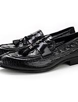 גברים-נעליים ללא שרוכים-עורשחור בורגונדי-משרד ועבודה יומיומי מסיבה וערב-עקב שטוח