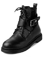Черный-Женский-На каждый день-Кожа-На плоской подошве-Военные ботинки / С круглым носком-Ботинки