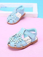 Girl's Sandals Summer Comfort Leather Outdoor Flat Heel Flower Blue Pink White Walking