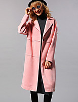 Newbefore Women's Casual/Daily Vintage / Simple Trench CoatSolid Peaked Lapel Long Sleeve Fall / Winter