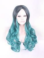дешевый красивый мягкий корейский сексуальный длинный черный зеленый парик термостойкие женщин волосы парики косплей ломбер