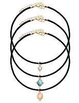 3 Pcs/Set Hot Sale Fashion Jewelry Rope Chain Multilayer Chokers Necklace With Turquoise Pendants Gifts for Women Girls