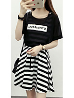 Women's Going out / Casual/Daily Simple Summer Set SkirtSolid / Print Round Neck Short
