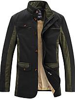 Men's Long Sleeve Casual / Work / Formal JacketPolyester / Spandex Solid Black / Brown / Green