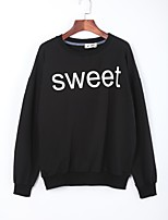 Women's Casual/Daily Active Regular HoodiesLetter Red / Black / Gray / Yellow Round Neck Long Sleeve Cotton Fall