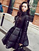 Women's Solid Black / Yellow Down CoatSimple / Street chic Turtleneck Long Sleeve