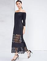 ADEAST Women's Street chic Sheath DressSolid Boat Neck Midi  Sleeve Black Cotton Fall / WinterMid
