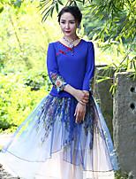Damen Stickerei Chinoiserie Ausgehen T-shirt,Rundhalsausschnitt Frühling / Herbst Langarm Blau Baumwolle / Elasthan Mittel