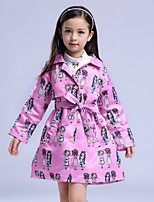 Girl's Casual/Daily Print Trench CoatCotton / Polyester Winter / Fall Pink