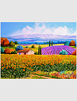 Hand-Painted Landscape Floral/Botanical Abstract Landscape 100% Hang-Painted Oil Painting,Modern Pastoral European Style One Panel Canvas