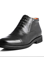 Men's Oxfords Fall Comfort Leather Casual Flat Heel Lace-up Black Others
