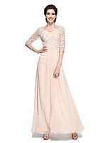 A-line Mother of the Bride Dress Floor-length Half Sleeve Chiffon with Appliques / Beading / Criss Cross