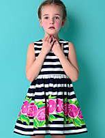 Girl's Casual/Daily Striped DressCotton Summer Black