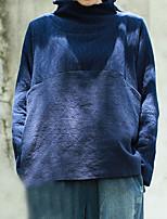 Set Femme,Rayé Décontracté / Quotidien simple Automne / Hiver Manches Longues Col Roulé Bleu Lin Moyen