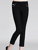 burdully Frauen solid schwarz / braun Chinos pantssimple