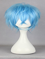 Top Quality  Costume Wig Anime Karneval Karoku 35cm Short Curly Light Blue Synthetic Fashion Man Party Cosplay Wig
