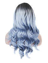 IMSTYLE 22Beautiful Rooted Glacier Blue Long Wavy Synthetic Machine Wig