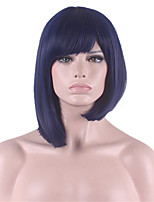 European and American Fashion Bobo Short Straight Hair Purplish Blue Bobo Head Neat Bang Hair