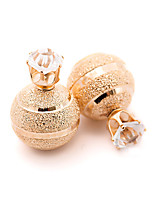 New Arrival Vintage Fashion Solid Color Double Sides Ball Stud Earrings Gold Plated Cute Crystal Earrings For Women