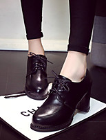 Women's Oxfords Fall Comfort PU Casual Chunky Heel Lace-up Black Red Beige Walking