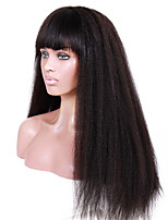 20-24inch Kinky Straight with Full Bang Brazilian virgin remy human hair glueless lace front wigs for African Americans