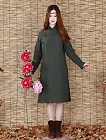 Ramie Cotton Women's Solid Green Padded CoatChinoiserie Stand Long Sleeve