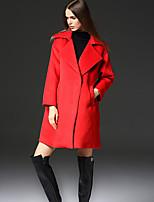 FRMZ  Work SimpleSolid Peaked Lapel Long Sleeve Winter Red Faux Fur / Polyester Medium