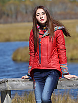Our Story Women's Regular Padded CoatBoho Going out Paisley-Cotton / Polyester Cotton Long Sleeve Hooded Red