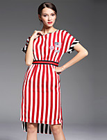 Women's Plus Size / Going out Simple Sheath DressStriped Round Neck Knee-length Sleeveless Red Polyester