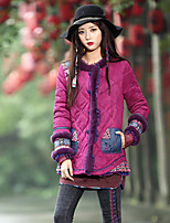 Our Story Women's Regular Padded CoatBoho Going out Print-Polyester Cotton Long Sleeve Round Neck Purple