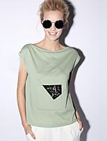 nouvelle avant occasionnel / journalier simple été t-shirtsolid col bateau manches courtes femmes blanc / vert