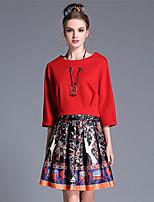 AUFOLI Autumn Women Plus Size Fashion Vintage Print Blouse Skirt Two Piece Set