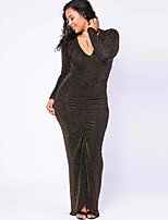 Women's Plus Size / Casual/Daily Vintage Bodycon DressSolid Round Neck Maxi Long Sleeve Black Polyester