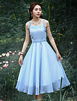 Our StoryWomen's Going out Chinoiserie Sheath DressEmbroidered Strap Knee-length Sleeveless Blue Polyester Summer